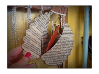 Collar necklace made out of books